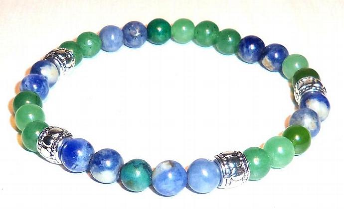 """Men's Wristlet : Sodalite, and Aventurine """"Calm Mind and Emotions"""""""