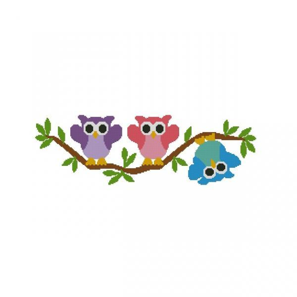 ALL STITCHES - 3 OWLS HANGING OUT CROSS STTICH PATTERN .PDF -824