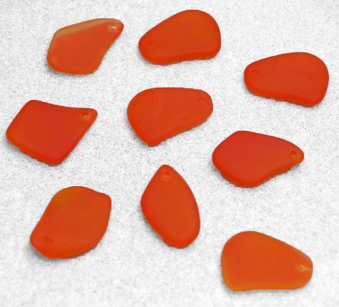 Tangerine Freeform Pendants- recycled sea glass pendants