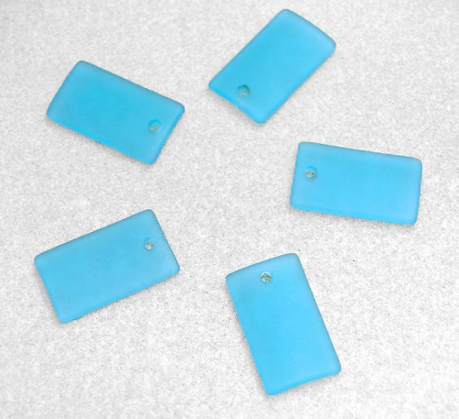 Turquoise Bay Rectangle Pendants- recycled glass