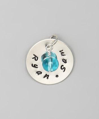 "CUSTOM- 3/4"" Personalized Sterling Silver Pendant w/ Aquamarine Bead Charm"