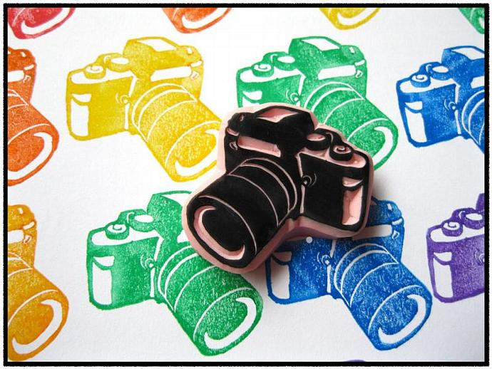 Camera Hand Carved Rubber Stamp