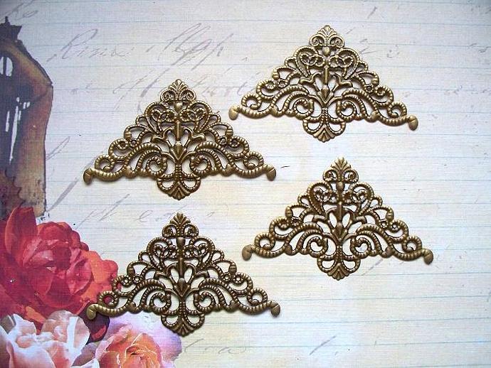 "4pcs 3""X2"" Filigree Corner Atique Bronze (FTB-02)"