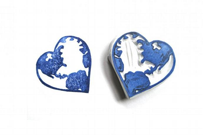 Heart the World Hand Carved Rubber Stamp, World in the Shape of a Heart