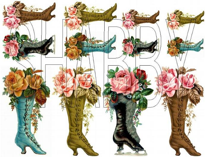 Shabby Chic  Vintage Boots roses Digital collage sheet for scrapbook and cards