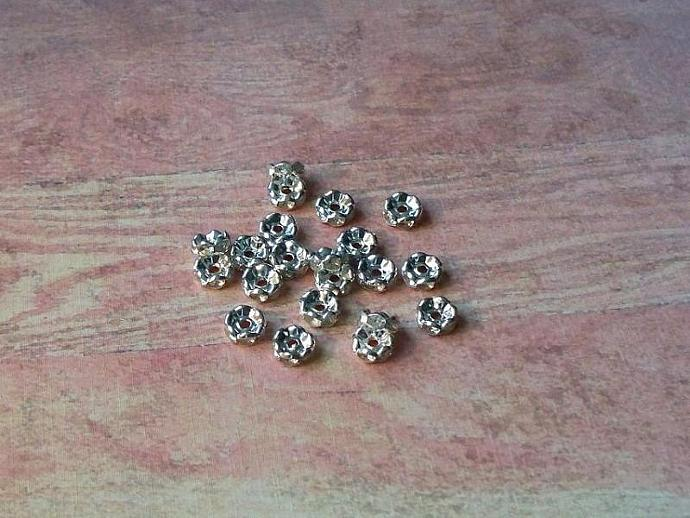 Silver/Clear Rhinestone Rondelle flower side Spacers 8mm (SSC-02)
