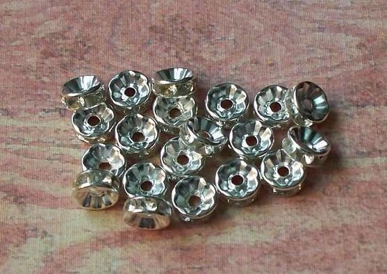 Silver/Clear Rhinestone Rondelle Spacers 8mm (SSC-01)