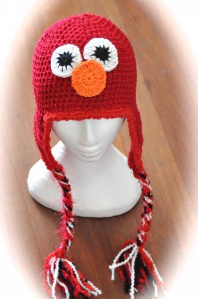-Elmo crochet hat, Sesame Street Character- Made to Order