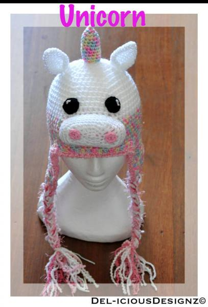Crochet Pattern For A Unicorn Hat : Unicorn Crochet Hat - Made to Order DELiciousDesignz