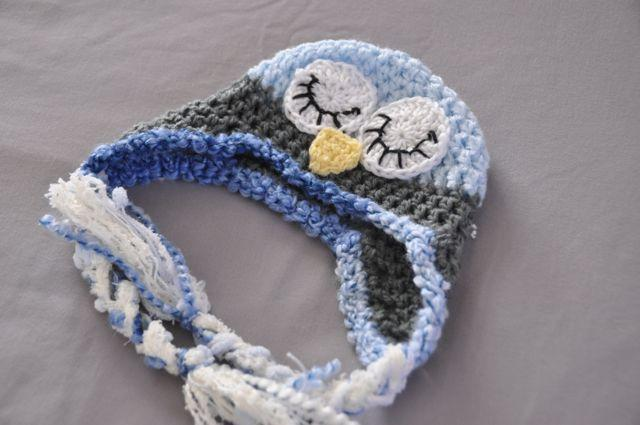 Sleepy Baby Owl  Crochet Hat - Made to Order