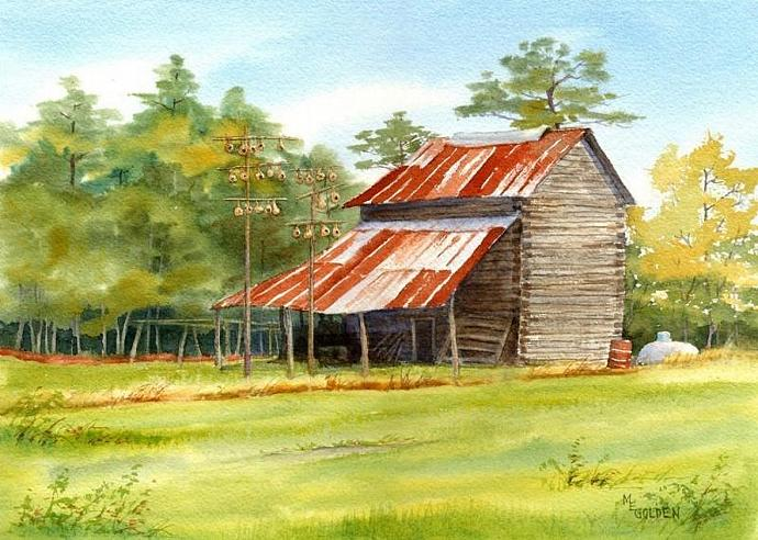 Barn with Gourds