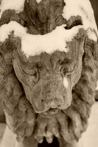 The Crying Stone Lion Fine Art Sepia Black and White Photo