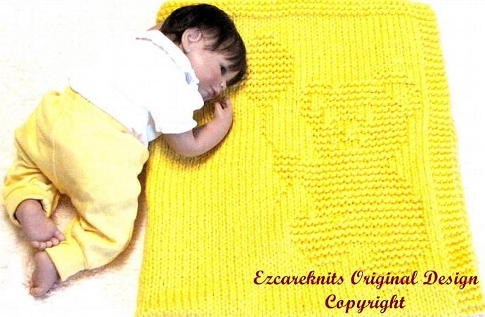 SNUGGLY BEAR - Baby Blanket Knitting Pattern