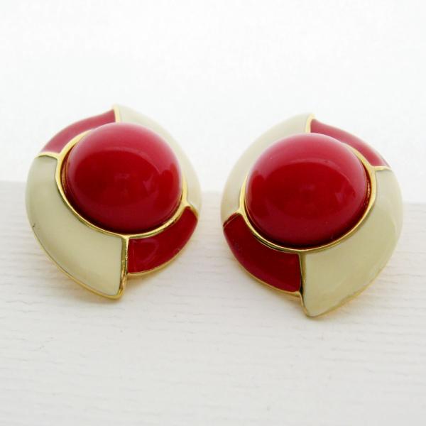 Monet Signed Enamel Geometric Red Cream Clip Earrings