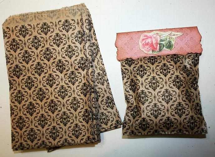 "6 x 4 ""vintage"" Damask brocade kraft merchandise bags bags  shabby chic"