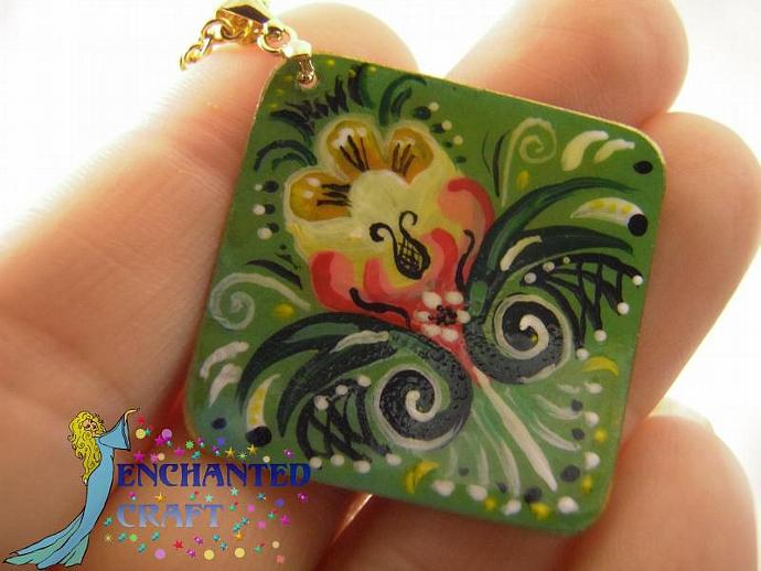 Hand Painted Rosemaling tulip pendant
