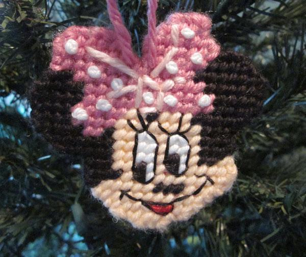 Minnie Mouse Christmas ornament in plastic canvas