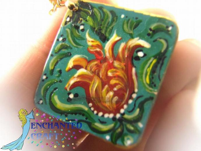 Hand Painted Rosemaling fancy tulip pendant