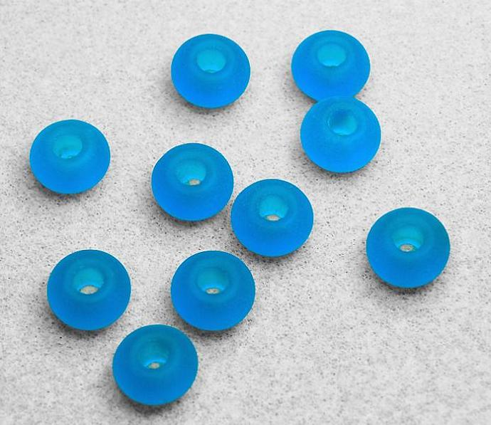 Large Hole Pacific Blue Sea Glass Beads- recycled glass