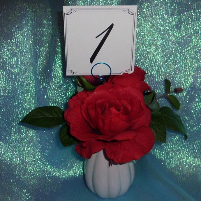 Turquoise Swirl Holder and Table Number set of 24