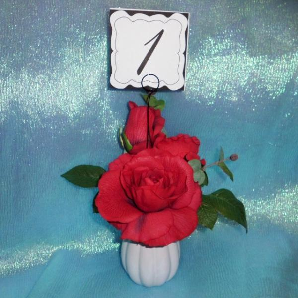 Table Number and Black Swirl Wire Holders set of 24