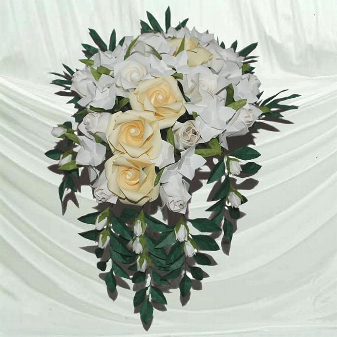"""Lovely Delight""Origami Cascading Bridal Bouquet"