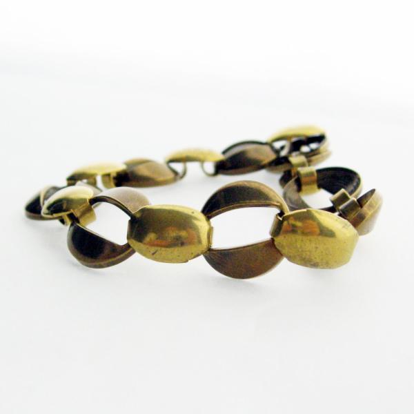 Vintage Wide Raw Brass Loop Link 6.25 Inch Small Bracelet - Wear, Beadable,