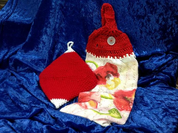 POPPY TOWEL WITH RED & WHITE POT HOLDER  500-002