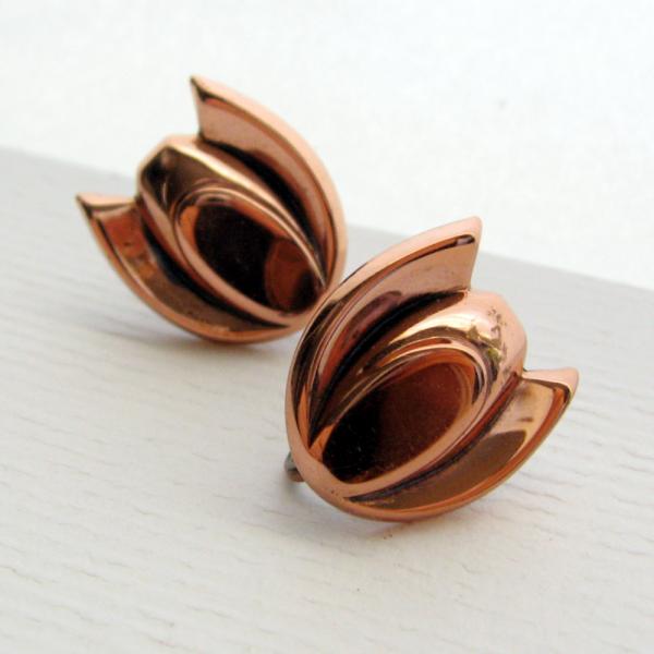 50s Copper Modernist Tulip Screw Back Earrings - Signed Renoir