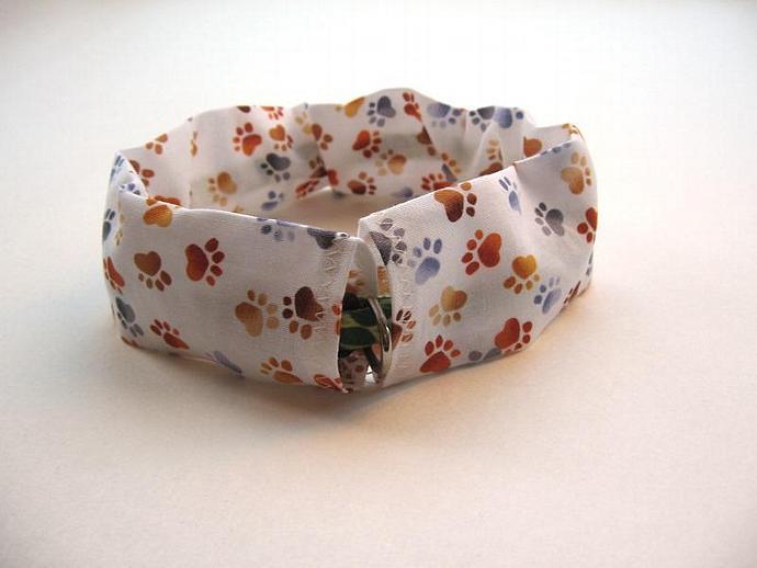 Paw Prints Dog Collar Slipcover, a bandana alternative
