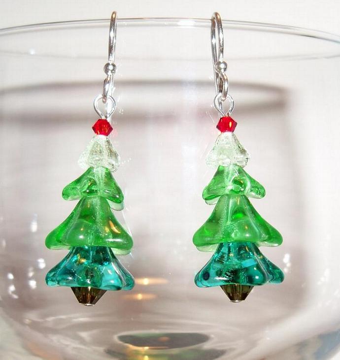 Earrings Festive Trees
