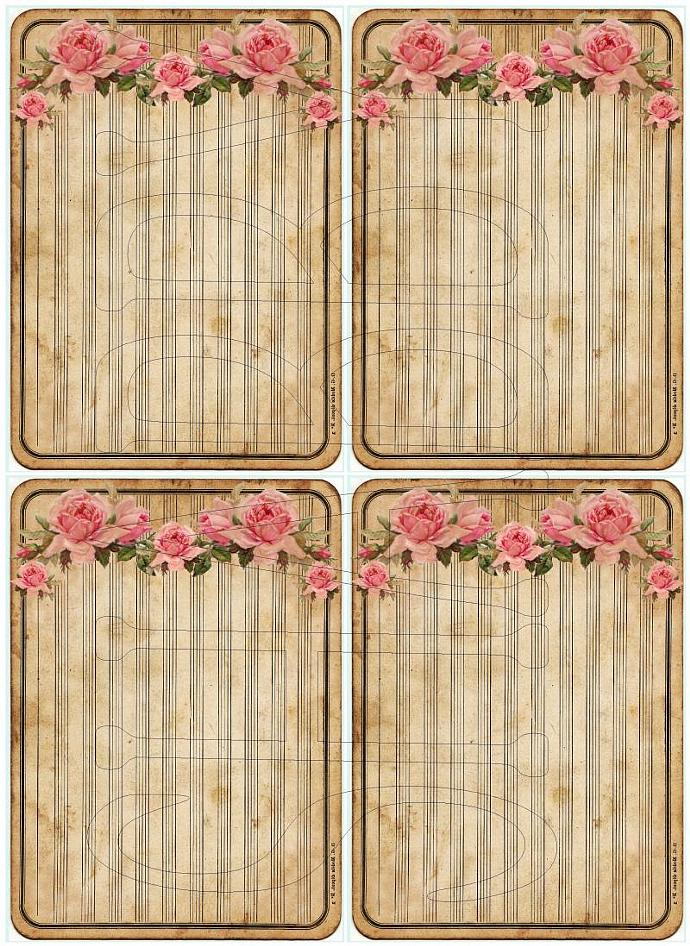 Shabby Chic Roses Journaling Tag Digital collage sheet for scrapbook and cards