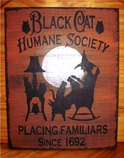 Black Cats Halloween witch decorations Humane Society Cat art  signs Primitive