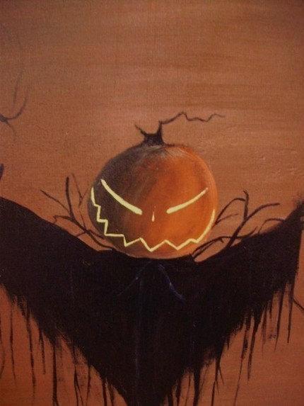 Sleepy Hollow Sign painting scarecrow Headless Horseman New York Folk Art