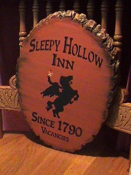 Primitive Sleepy Hollow Inn Sign Headless Horseman New York Folk Art Halloween