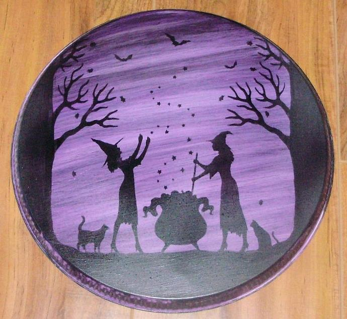 Primitive witch Halloween decorations signs Witches Kitchen stovetop oven Burner
