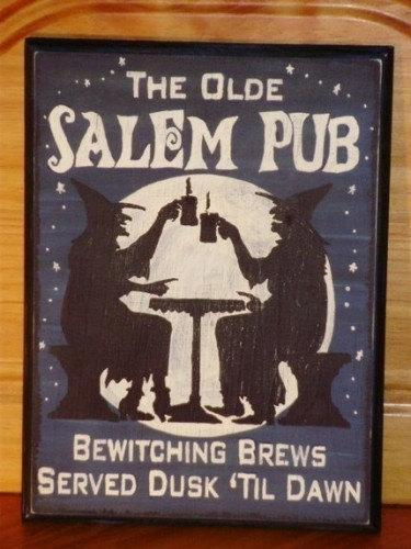 Primitive Witches Sign Olde Salem Pub tavern Witch signs plaques Halloween