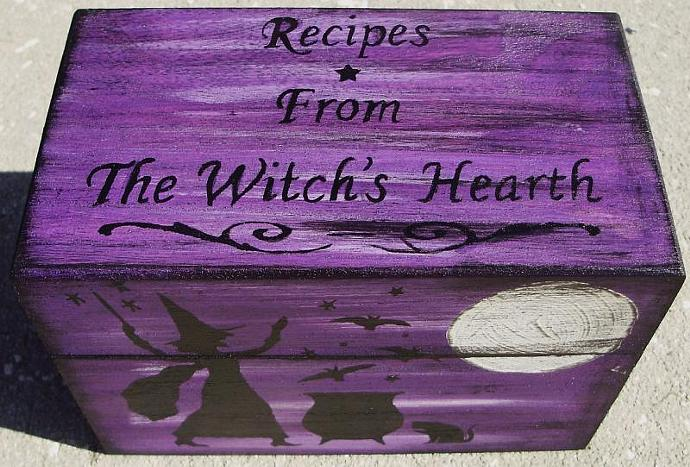 Primitive Halloween Recipe Boxes box Witches Witchcraft  Folk Art Black Cats