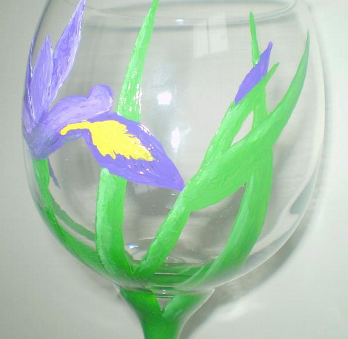 Iris Wine Glass - Hand Painted Purple and Yellow Iris Flower