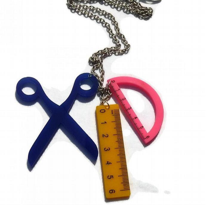 Geometry Necklace,Back to School Jewelry,Lasercut Acrylic