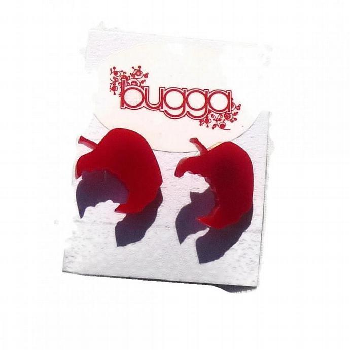 Red Apple Stud Earrings,Back to School Jewelry,Lasercut Acrylic