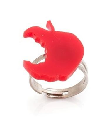 Red Apple Ring,Back to School Jewelry,Lasercut Acrylic