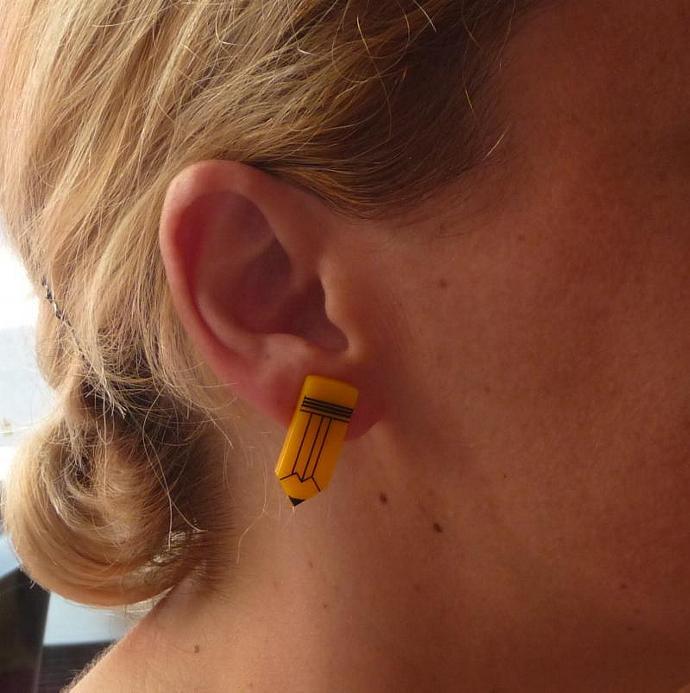 Pencil Stud Earrings,Back to School Jewelry,Lasercut Acrylic