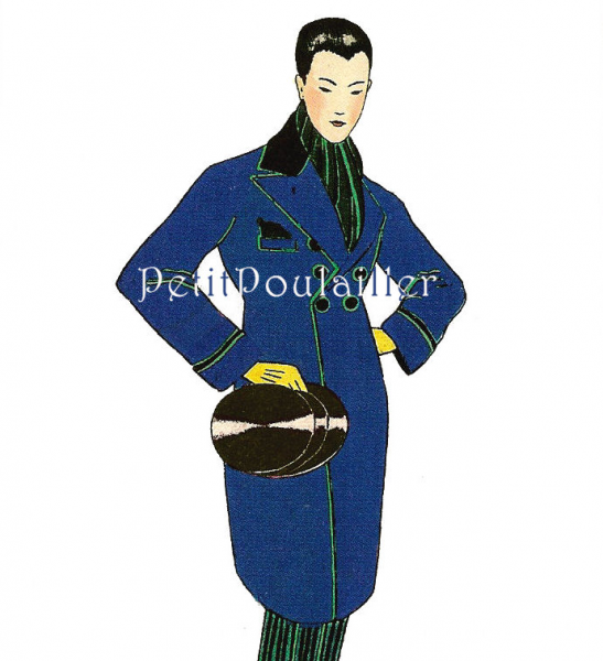 Parisian Gentleman Couture 1980 French Fashion Lithographs, Pl 136-137