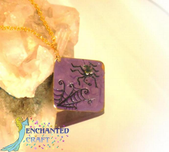 Hand Painted Fun purple Spider pendant