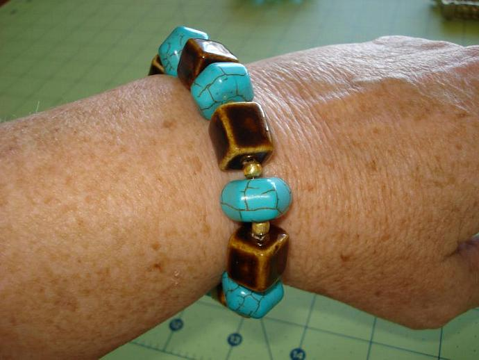 Classic Brown and Crackled Turquoise Lantern Bead Bracelet