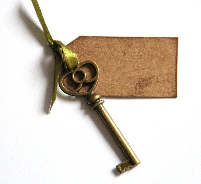 Set of 25 Escort/ Place Card with Skeleton Key Charm - Perfect for Vintage