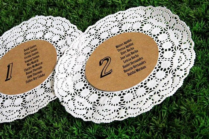 Rustic Wedding Seating Chart - Custom Table Numbers - Doily Guest List - Set of