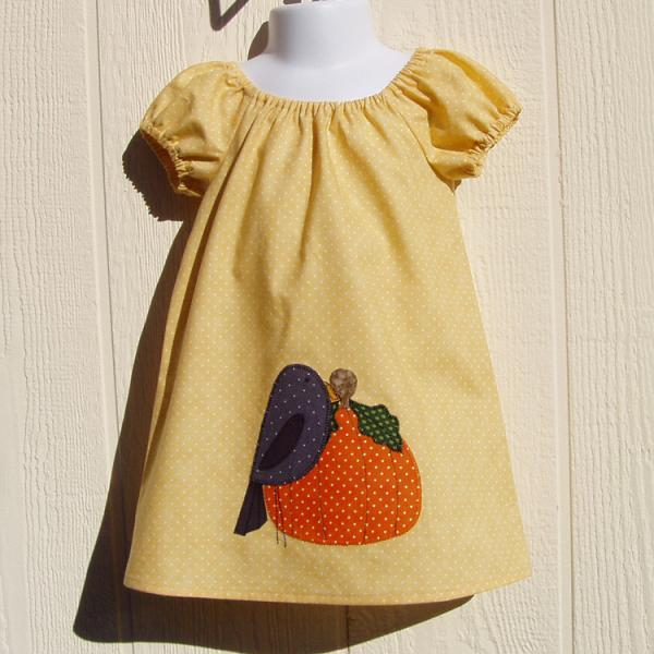 Crow and Pumpkin Peasant Dress,  Size 12 Months