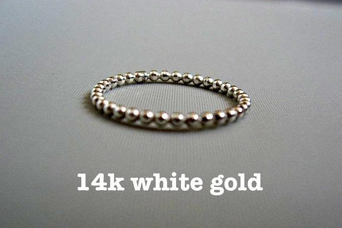 White Gold Wedding Ring, 14k white SOLID gold dotted simple ring, beaded